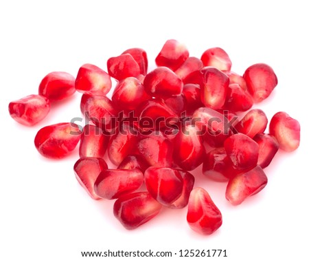 Pomegranate seed pile isolated on white background cutout