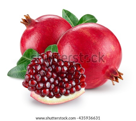 Pomegranate with leaves isolated on white background.