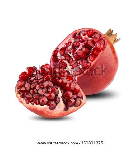 Pomegranates Fruit With Cut Open On White Background - stock photo