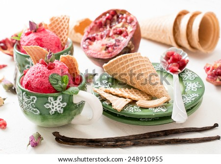 Pomegranates ice cream in coffee cup,selective focus  - stock photo