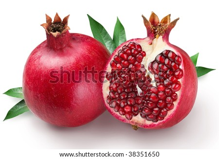 pomegranates on a white background - stock photo