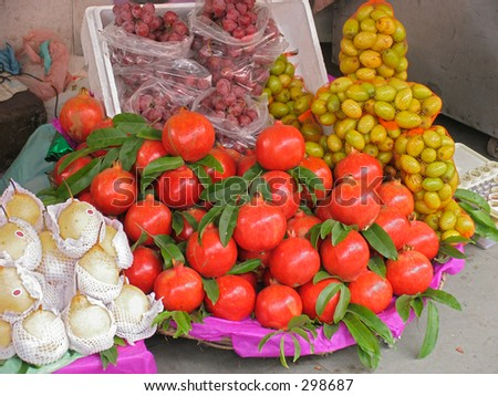 Pomegranates on sale on a stall in Northern India