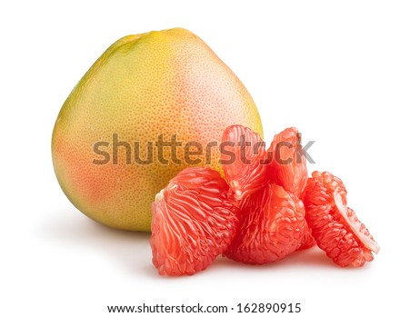 pomelo cut isolated on white - stock photo