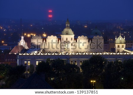 Pomeranian Dukes Castle in Szczecin (Stettin) City at night, view from National Museum,  Poland.