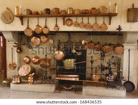Pommard France October 6 The Ancient Kitchen At Chateau De Pommard Winery On