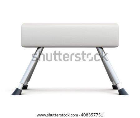 Pommel horse isolated on white background. Side view. 3d rendering. - stock photo