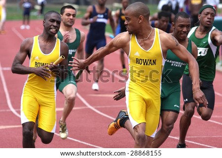 POMONA, NJ - APRIL 18:  Brian Thomas and Nehemiah Burnery - Porter, compete during the CTC College Track Championships held at the Richard Stockton College of New Jersey April 18, 2009 in Pomona, NJ. - stock photo