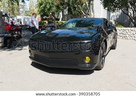 "Pomona, USA - March 12, 2016: Chevy Camaro ""Batmobile"" during 3rd Annual Street Machine and Muscle Car Nationals"