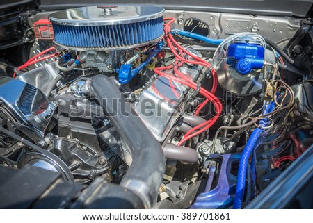 Pomona, USA - March 12, 2016: Customized muscle car engine displayed during 3rd Annual Street Machine and Muscle Car Nationals