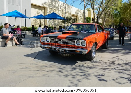Pomona, USA - March 12, 2016: Plymouth Road Runner during 3rd Annual Street Machine and Muscle Car Nationals - stock photo