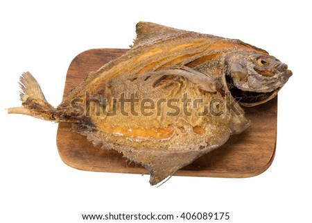 Pompano Fry isolate on white background.