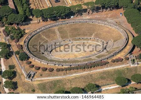pompei amphitheater - stock photo