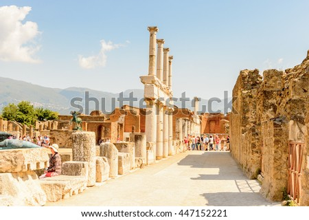 POMPEI, ITALY - MAY 8, 2016: Forum of Pompeii, an ancient Roman town destroyed by the volcano Vesuvius. UNESCO World Heritage site