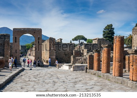 Pompei, Italy, May 11, 2014. The ruins of  ancient Roman town Pompeii that was completely destroyed in 79 AD by the eruption of Mount Vesuvius. - stock photo