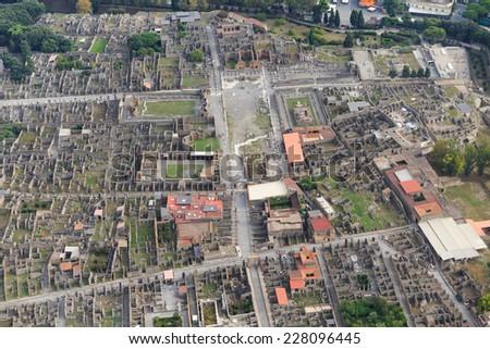 Pompeii, aerial view, naples, archeologic ruins of Pompeii in Italy - stock photo