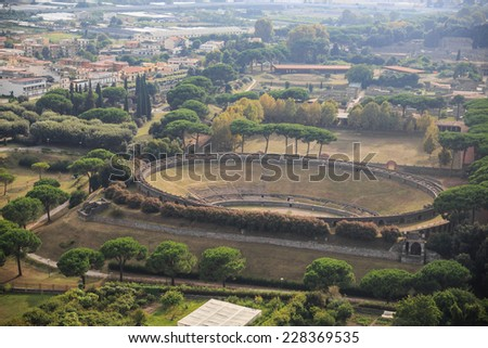 pompeii amphitheater, aerial view, naples, archeologic ruins of Pompeii in Italy  - stock photo