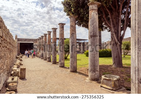 POMPEII, ITALY - MAY 13, 2014: The ruins of a wealthy villa. Pompeii is an ancient Roman city died from the eruption of Mount Vesuvius in 79 AD. - stock photo