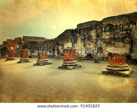 Pompeii, Italy, Roman ruins after the eruption of Vesuvius, artistic version - stock photo
