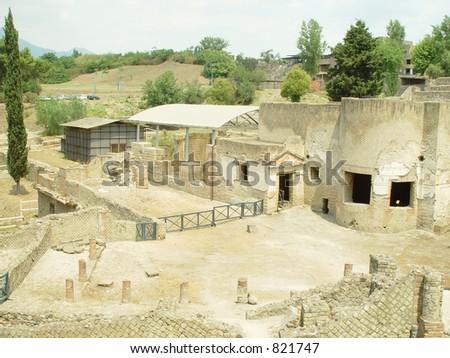 pompeii recent excavation - stock photo