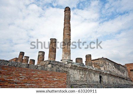 Pompeii ruins after the eruption of Vesuvius, Italy - stock photo