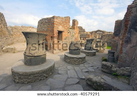 Pompeii ruins after the eruption of Vesuvius, Italy, Europe - stock photo
