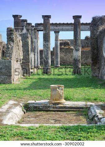 Pompeii ruins in Italy - stock photo