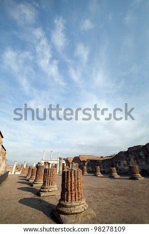 Pompeii ruins in Italy. - stock photo