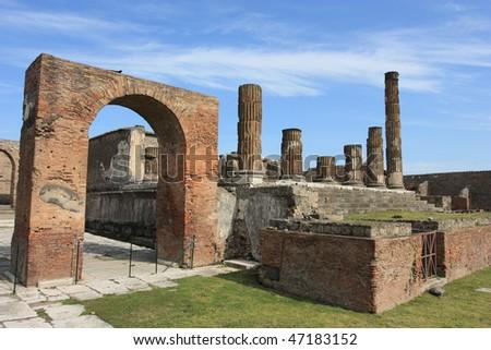 Pompeii, ruins of temple of apollo - stock photo
