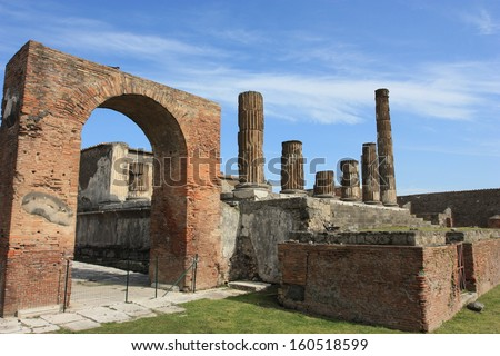 Pompeii, ruins of Temple of Apollo, Italy - stock photo