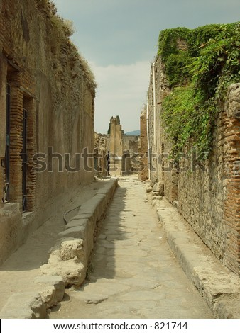 pompeii street recent excavation - stock photo