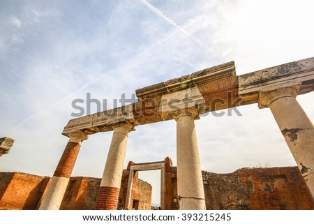 Pompeii, the historical ancient ruin city destroyed by eruption of Vesuvius volcano in 79BC - stock photo