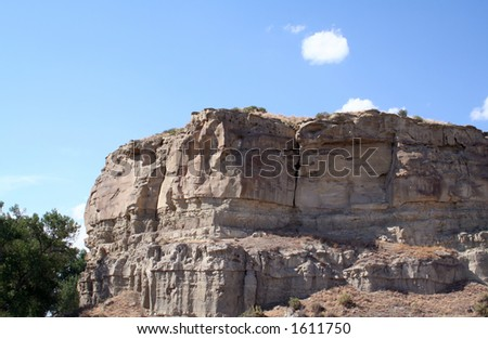 Pompeys Pillar is where Lewis and Clark engraved there names into the sandstone butte. - stock photo