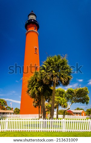 Ponce de Leon Inlet Lighthouse, near Daytona Beach, Florida. - stock photo