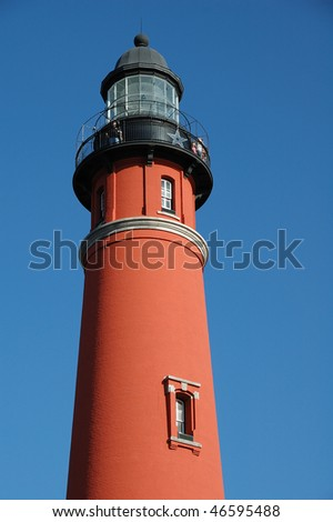 Ponce De Leon Inlet Lighthouse Tower Observation Deck - stock photo