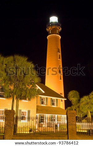 Ponce Inlet Lighthouse in Florida at Night. Ponce Inlet Lighthouse ,Night,Ponce Inlet ,