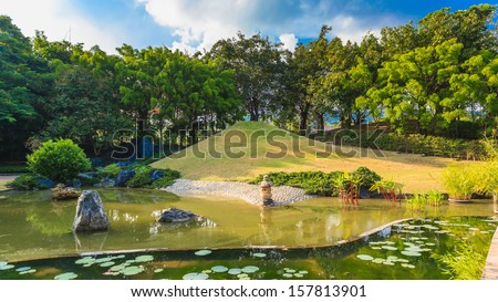 Pond and Water Landscape in Japanese Garden - stock photo