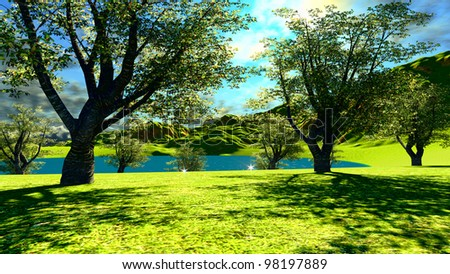 Pond by the forest - stock photo