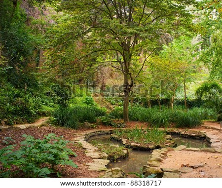 Pond in a beautiful park - stock photo