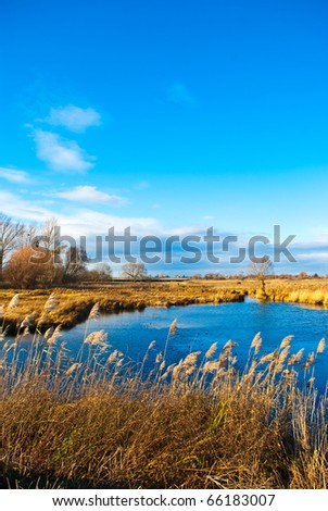 pond in a field with blue sky - stock photo