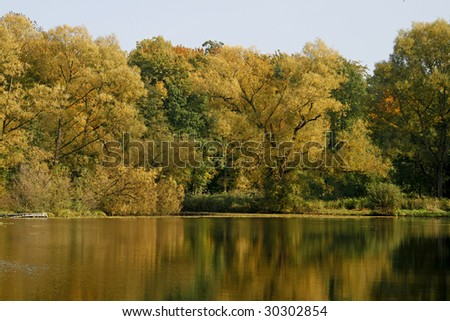 Pond in autumn, Lower Saxony, Germany
