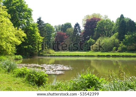 Pond in beautiful green park - stock photo