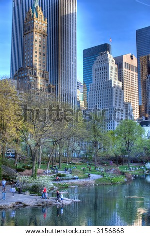 Pond in Central Park, New York City,Manhattan,United states of  America - stock photo