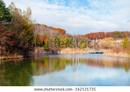 Pond in Don Valley Brick Works Park, Toronto - stock photo