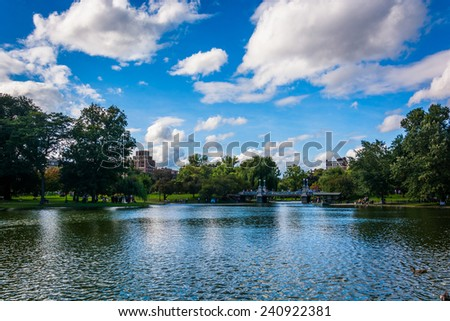 Pond in the Public Garden in Boston, Massachusetts. - stock photo