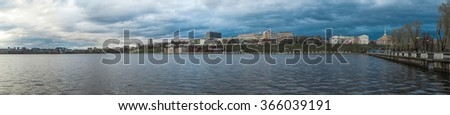 Pond panorama on the embankment in the city of Izhevsk - stock photo