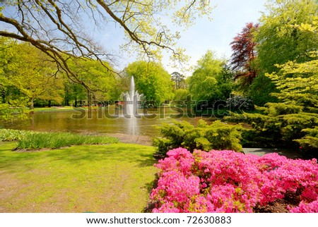 Pond with fountain in Keukenhof park, Lisse Netherlands