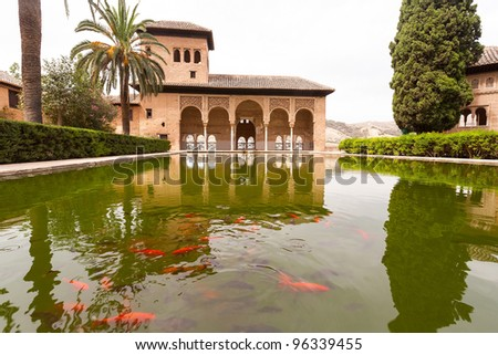 Pond with goldfish inside the Alhambra palace in Granada - stock photo