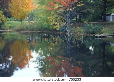 Pond with Reflections of Autumn Colors