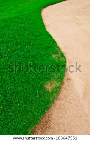 PONDS, sand the floor grass color green of the golf course. - stock photo
