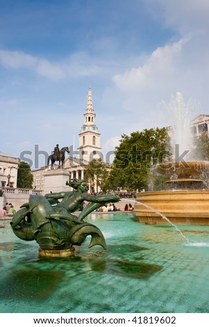 Ponds with statue and fountain on a Trafalgar Square. London, UK - stock photo